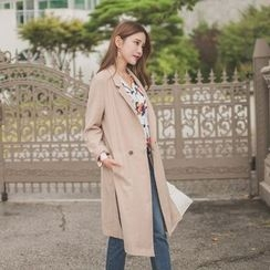 WITH IPUN - Notched-Lapel Double-Breasted Long Coat