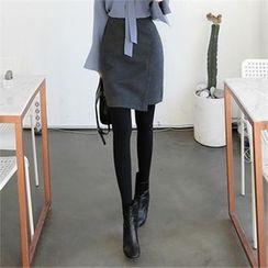 ZIZIBEZIRONG - High-Waist Wrap-Front Mini Skirt