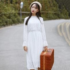 Sens Collection - 纯色小高领长袖连衣中裙