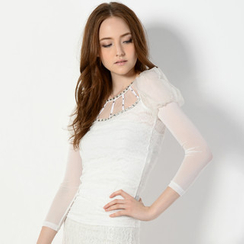 YesStyle Z - Long-Sleeve Mesh-Yoke Lace Top