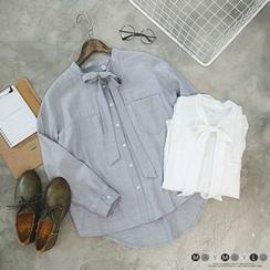 Maymaylu Dreams - Tie-Collar Linen-Blend Blouse