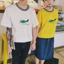 Simpair - 情侣印花短袖T恤