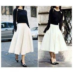 GRACI - Set: Cutout Knit Top + A Line Skirt