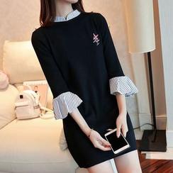 Bubbleknot - Panel Elbow-Sleeve Knit Dress