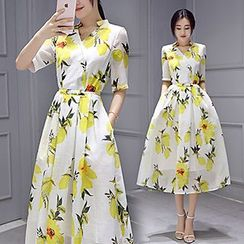 Lavogo - Elbow-Sleeve Floral Organza Dress