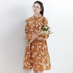 Forest Girl - Floral Print Corduroy Shirtdress
