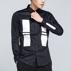 Antszone - Long-Sleeve Contrast-Color Shirt