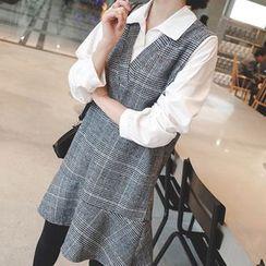 mimi&didi - Inset Shirt Sleeveless Plaid Mini Dress