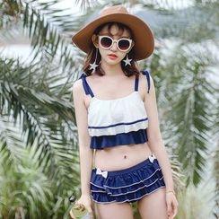 Beach Date - 饰结荷叶边分体泳衣