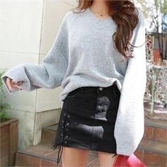 PIPPIN - V-Neck Long-Sleeve Loose-Fit Knit Top