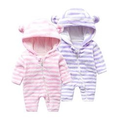 MOM Kiss - Baby Stripe Hooded One-piece