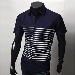 WIZIKOREA - Stripe-Pattern Short-Sleeve Shirt