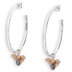 MBLife.com - Left Right Accessory - 925 Sterling Silver CZ Bumble Bee Hoop Dangle Earrings (45MM)