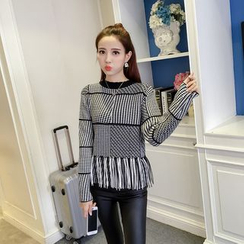 Honeydew - Fringed Houndstooth Knit Top
