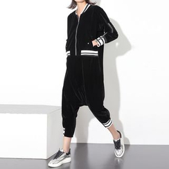 Ultra Modern - Striped Cropped Long Sleeve Jumpsuit