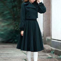 MUSI - Set: Cropped Coat + Pleated Midi Skirt