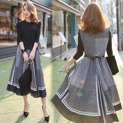 PPGIRL - Inset Knit Top Pattern Long Dress