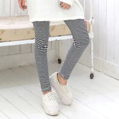 Cocopop - Brushed Fleece-Lined Striped Leggings