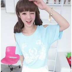 59 Seconds - Cutout-Shoulder Printed Loose-Fit T-Shirt