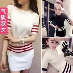 QZ Lady - Set: Short-Sleeve Striped Knit Top + Knit Skirt