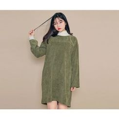 HOTPING - Round-Neck Corduroy Dress