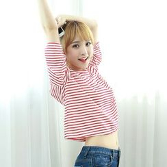 Dodostyle - Cat-Embroidered Stripe Cropped T-Shirt