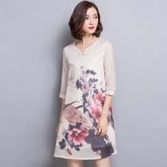 Her Story - 3/4-Sleeve Printed Dress