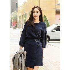 J-ANN - 3/4-Sleeve Tied-Waist Dress