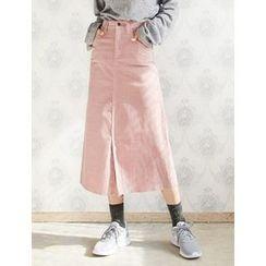 FROMBEGINNING - Corduroy A-Line Long Skirt