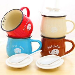 Good Living - Printed Mug with Lid & Spoon