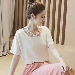 Munai - Short-Sleeve Crochet-Trim Top