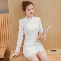 lilygirl - 實拍拼接白色蕾絲連衣裙2017春款長袖打底顯瘦中長款 打底裙