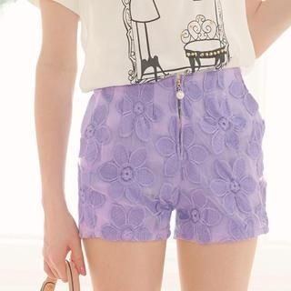 Tokyo Fashion - Beaded Zip-Front Embroidered Shorts