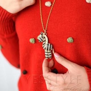 59 Seconds - Rhinestone Zebra Necklace