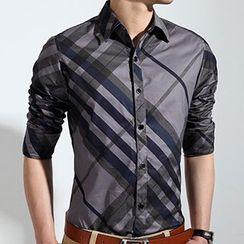 RUYA - Long-Sleeve Plaid Shirt