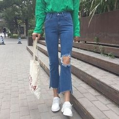 OCTALE - Distressed Cropped Boot Cut Jeans