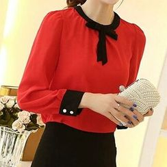 Aikoo - Bow-Accent Chiffon Blouse