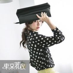 Tokyo Fashion - Long-Sleeve Polka-Dot Chiffon Shirt