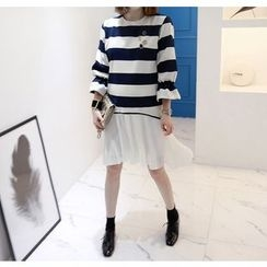 Miamasvin - Tie-Cuff Pleated-Hem Striped Pullover Dress
