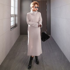 PPGIRL - Turtle-Neck Slit-Side Long Dress