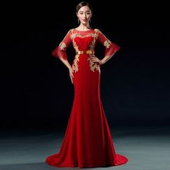 Royal Style - 3/4-Sleeve Mermaid Evening Gown