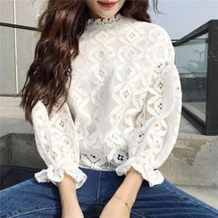 SUYISODA - Lace 3/4-Sleeve Top