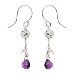 Keleo - Silver, amethyst, pink amethyst earrings