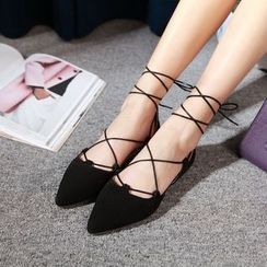 JY Shoes - Lace Up Pointed Flats