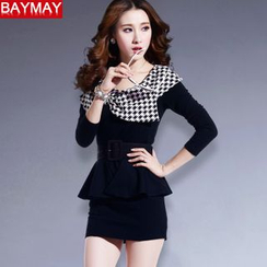 BAYMAY - Houndstooth Panel Sheath Dress with Peplum Bet