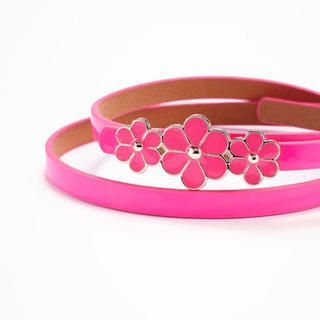 Moonbasa - Flower-Accent Faux-Leather Slim Belt
