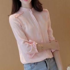 Cobogarden - Stand-Collar Linen-Blend Blouse