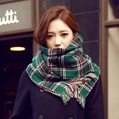 INKLEE - Plaid Fringe-Trim Winter Scarf