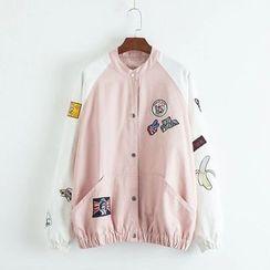 TOJI - Appliqué Color-Block Button Jacket