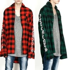 Rememberclick - Lettering-Sleeve Check Shirt